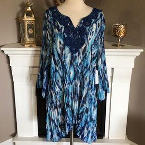 Catherines Blue/White Crochet Neck Pleated Tunic